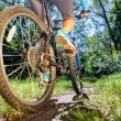 Young woman on mountain bike fast ride outdoors. — Стоковое фото