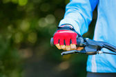 Closeup of hands in red protective gloves holding handlebar. — Stock Photo