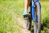 Closeup  woman riding mountain bike outdoors. — Foto de Stock