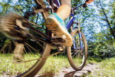 Young woman on mountain bike fast ride outdoors. — Stok fotoğraf