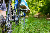 Closeup of woman riding mountain bike outdoors. — Stockfoto