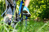 Closeup of woman riding mountain bike outdoors. — Stock Photo
