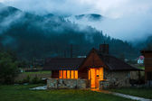 Summer kitchen in Carpatian Mountains. Ukraine. — Stock Photo