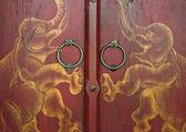 Elephant painted thai style ancient doors — Stock Photo