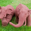 Elephant clay dolls in the garden , — Stock Photo