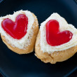 Royalty-Free Stock Photo: Red heart  shape of  donut.