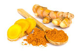 Tumeric and tumeric powder. — Stock Photo