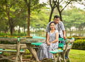 Concept shot of Asian young couple in love . — Stock Photo