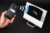 NFC - Near field communication / mobile payment — Stock Photo