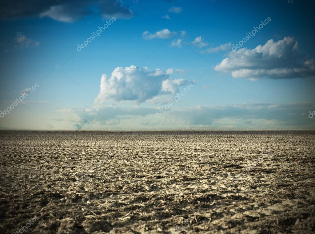 Field over blue sky and clouds in spring  Stock Photo #13737097