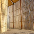 Concrete Wall with wood elements - Stock Photo