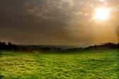 Sunset above the green fields — Stock Photo