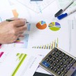 Stock Photo: Calculating with business documents