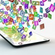 Tablet PC with cloud of application icons — Stock Photo #27200011