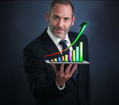 Mobile finance and statistics analytics — Stock Photo