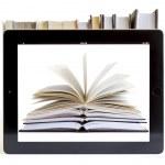 Open Books on iPad 3 concept — Stock Photo