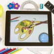 Paint on Ipad 3 with school accesories — Stock Photo