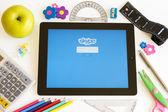 Skype on Ipad 3 with school accesories — Stock Photo