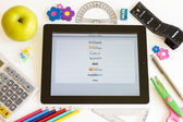 Networks on Ipad 3 with school accesories — Stock Photo