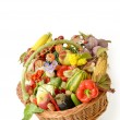 Basket with vegetables and fruits — Stock Photo
