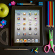 Ipad 3 with school accesories — Stockfoto