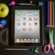Ipad 3 with school accesories - Stock Photo