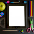 ipad 3 with school accesories — Stock Photo