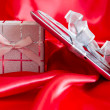 Royalty-Free Stock Photo: Digital tablet with christmas present