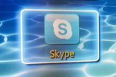 Galati, Romania - January 16, 2013: Enjoy widescreen Skype video calls from the confort of your livingroom! Skype is app for your Samsung Smart TV. — Stock Photo