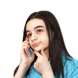 Bored teenage girl talking to smart phone — Stok fotoğraf