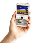 Hand holding Samsung Galaxy Y Pro B5510 — Stock Photo