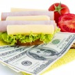 Stock Photo: Sandwich and dollars