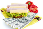Sandwich and dollars — Stock Photo