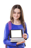 Teenage girl with digital tablet and schoolbag — Stock Photo
