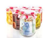 Financial reserves money conserved in a glass jar — Stock Photo