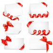 Set of card notes with red gift bows with ribbons Vector — Stock Vector #12426938
