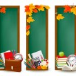 Back to school Three banners with school supplies and autumn leaves — 图库矢量图片