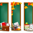 Back to school Three banners with school supplies and autumn leaves — ストックベクタ