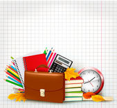 Back to school Background with school supplies and old paper — Stok Vektör