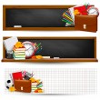 Back to school Three banners with school supplies and autumn leaves — Stock Vector