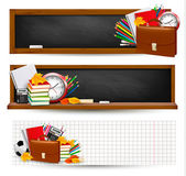 Back to school Three banners with school supplies and autumn leaves — Stok Vektör