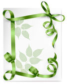 Card note with gift bow with ribbons — Stock Vector