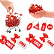Set of sales tags with red gift bow and shopping carts with sale  Concept of discount  Vector illustration — ベクター素材ストック
