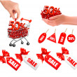 Stock Vector: Set of sales tags with red gift bow and shopping carts with sale Concept of discount Vector illustration