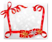 Kerstmis achtergrond met rode geschenk boog met geschenk dozen vector — Stockvector