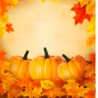 Pumpkins on wooden background with leaves. Autumn background. Vector. — Stock Vector #12780942