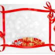 Stock Vector: Holiday background with red gift bow with gift boxes Vector