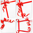 Set of holiday background with red gift bow with red ribbons. Vector — Stock Vector