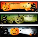 Three Halloween banners Vector — Stock Vector
