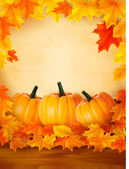 Pumpkins on wooden background with leaves. Autumn background. Vector. — Vecteur